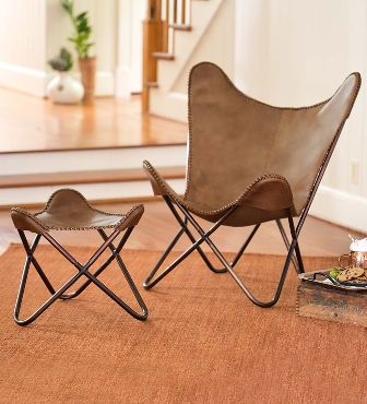 LEATHER BUTTERFLY SLING CHAIR AND OTTOMAN