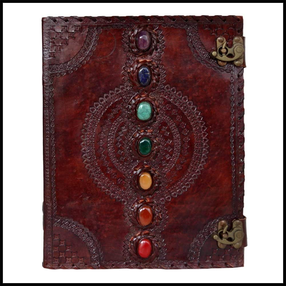 Large Leather Journal Book Seven Chakra Medieval Stone Embossed