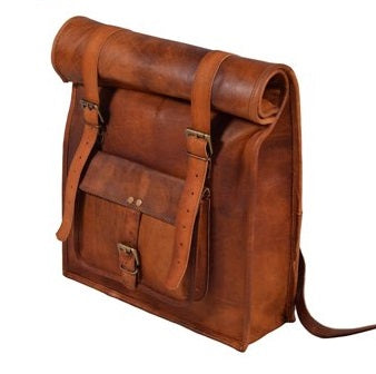 Leather Vintage Roll On Backpack