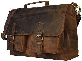 RETRO BUFFALO HUNTER LEATHER LAPTOP MESSENGER BAG