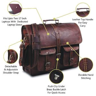 RUSTIC BROWN LEATHER MESSENGER BAG