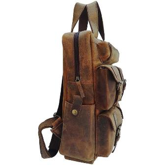 "18"" LARGE VINTAGE LEATHER BACKPACK RUCKSACK"