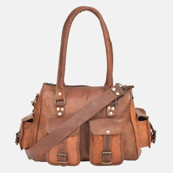 Vintage Leather Tote Bag Purse Brown Handbags Women