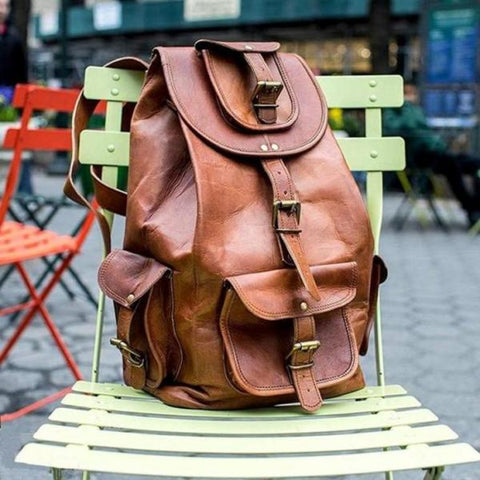 GENUINE LEATHER BACKPACK TRAVEL RUCKSACK