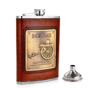 Leather Hip Flask England Design with Funnel