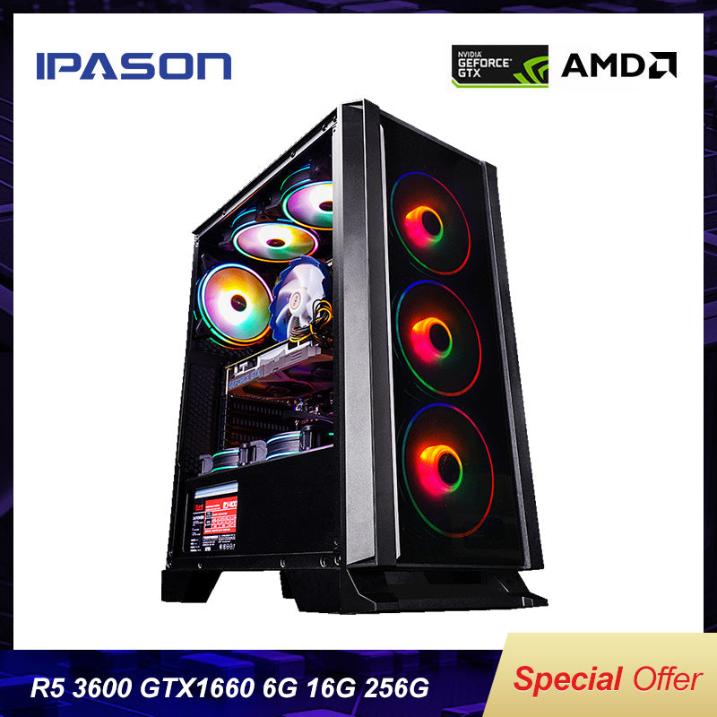 IPASON Desktop PC AMD R5 3600 PC GAMING