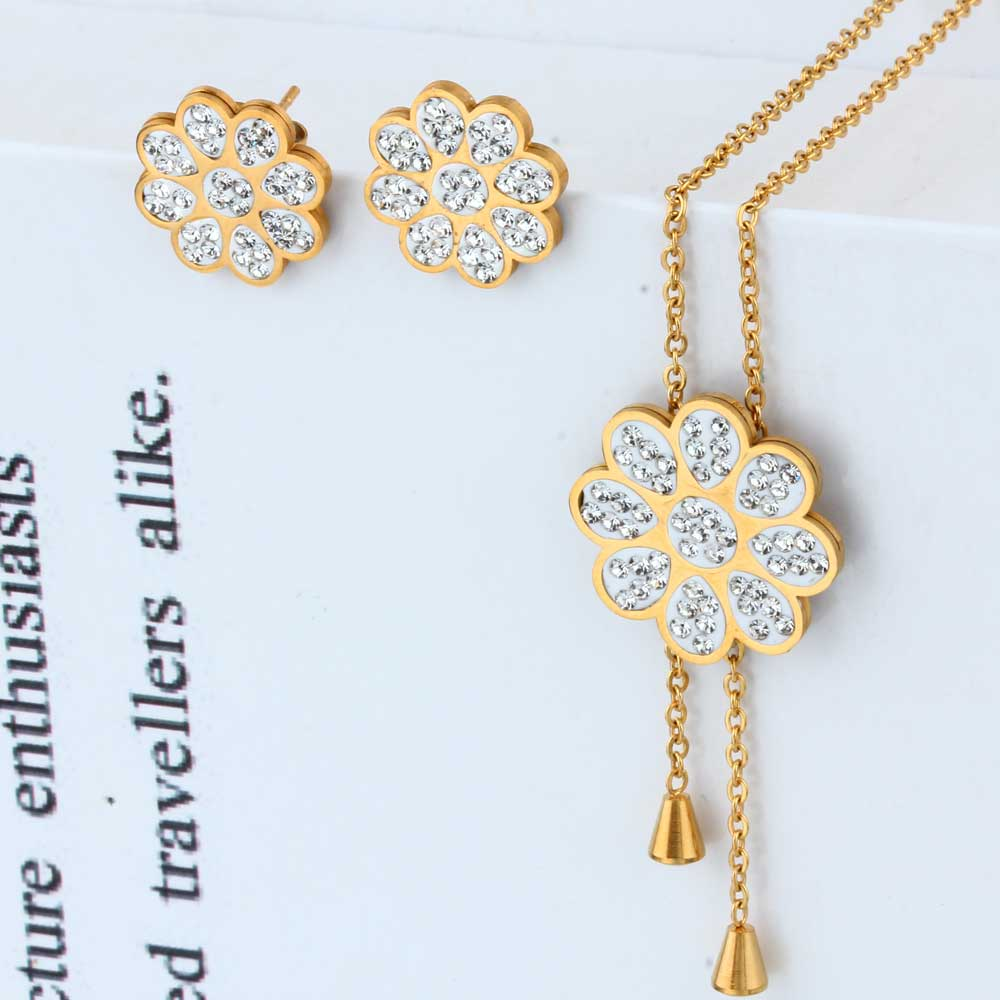 OUFEI Stainless Steel Flower Fashion Wedding Jewelry Sets Women Necklaces Earrings Sets Indian Jewelry Accessories