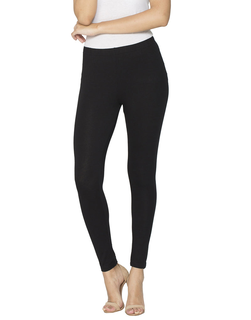 Libertina Black Solid Jersey Lycra Ankle Leggings for Women