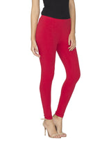 Libertina Red Solid Jersey Lycra Ankle Leggings for Women