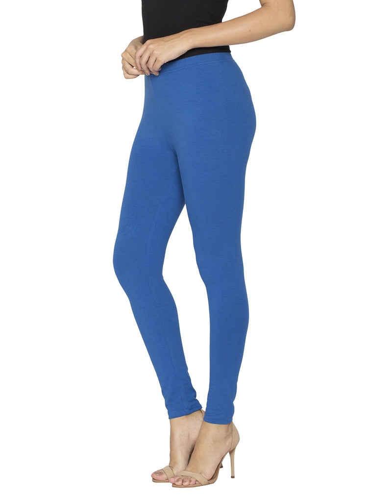 Libertina Navy Blue Solid Jersey Lycra Ankle Leggings for Women