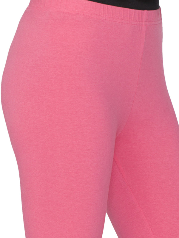 Libertina Pink Rose Solid Jersey Lycra Ankle Leggings for Women