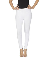 Libertina White Solid Jersey Lycra Ankle Leggings for Women