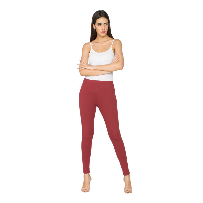 Libertina Maroon Solid Jersey Lycra Ankle Leggings for Women
