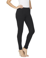 Libertina Black Solid Jersey Lycra Churidar Leggings for Women