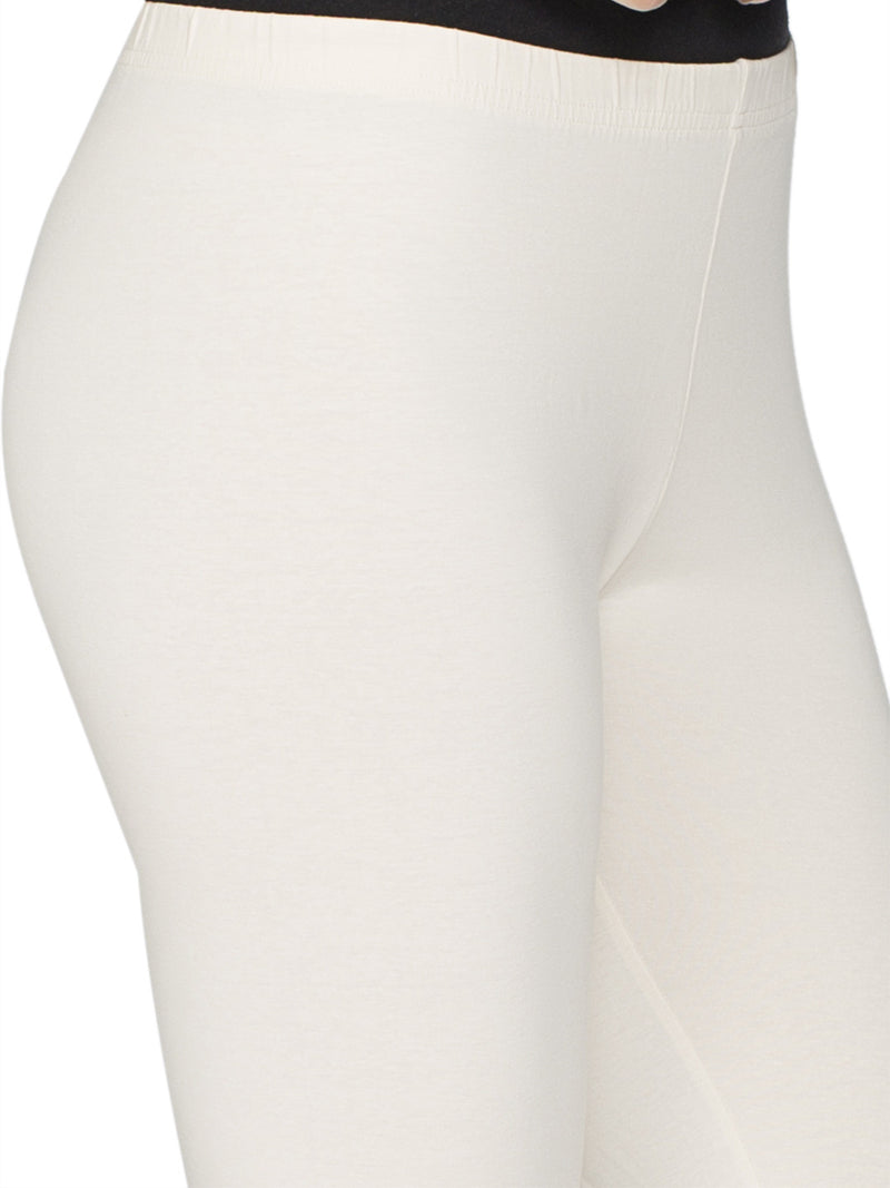 Libertina Cream Solid Jersey Lycra Churidar Leggings for Women