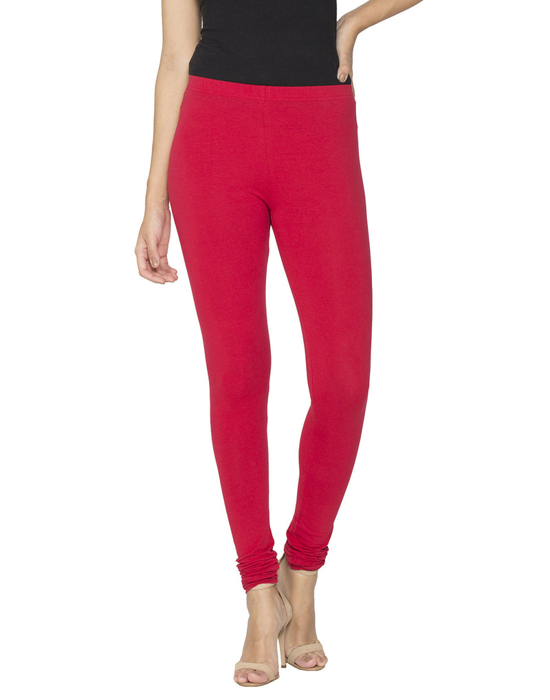 Libertina Red Solid Jersey Lycra Churidar Leggings for Women