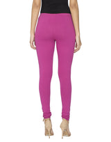 Libertina Pink Solid Jersey Lycra Churidar Leggings for Women