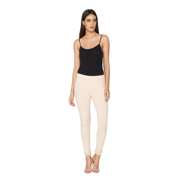 Libertina Light Beige  Solid Jersey Lycra Churidar Leggings for Women
