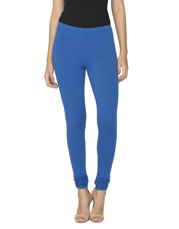 Libertina Navy Blue Solid Jersey Lycra Churidar Leggings for Women