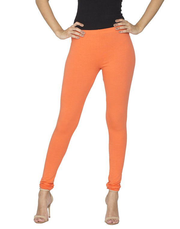 Libertina Orange Solid Jersey Lycra Churidar Leggings for Women