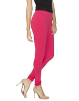Libertina Pink (Rasberry) Solid Jersey Lycra Churidar Leggings for Women
