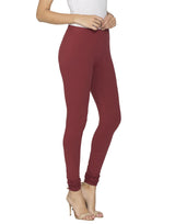 Libertina Maroon Solid Jersey Lycra Churidar Leggings for Women