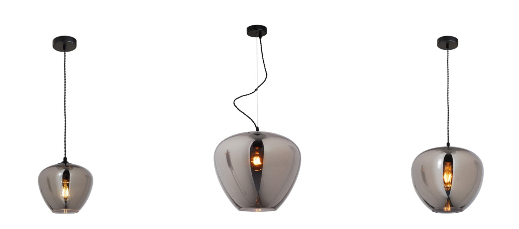 Hanglamp Uurna Glass Smoke Grey diameter 29cm