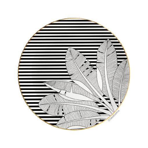 Decorative Wall Plate Palm Black&White stripes