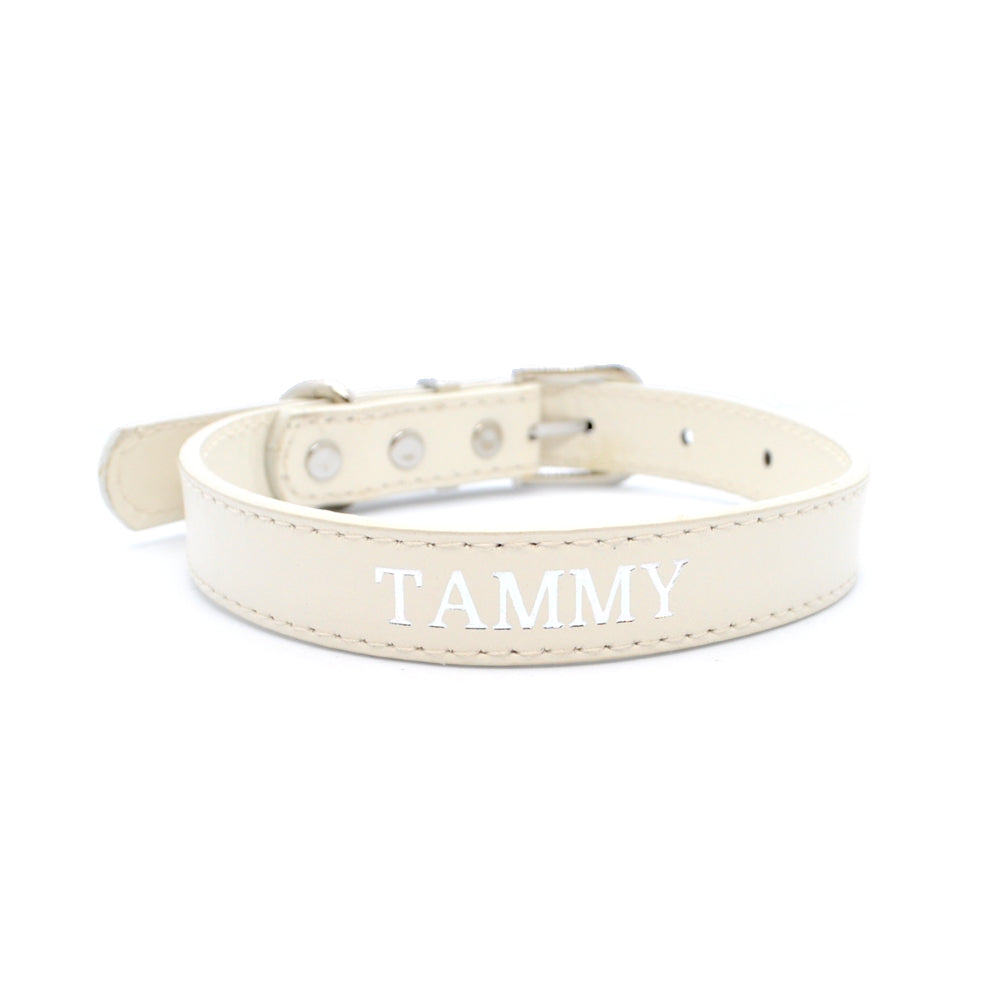 Beige - Premium Personalised Pet Collar (Silver)