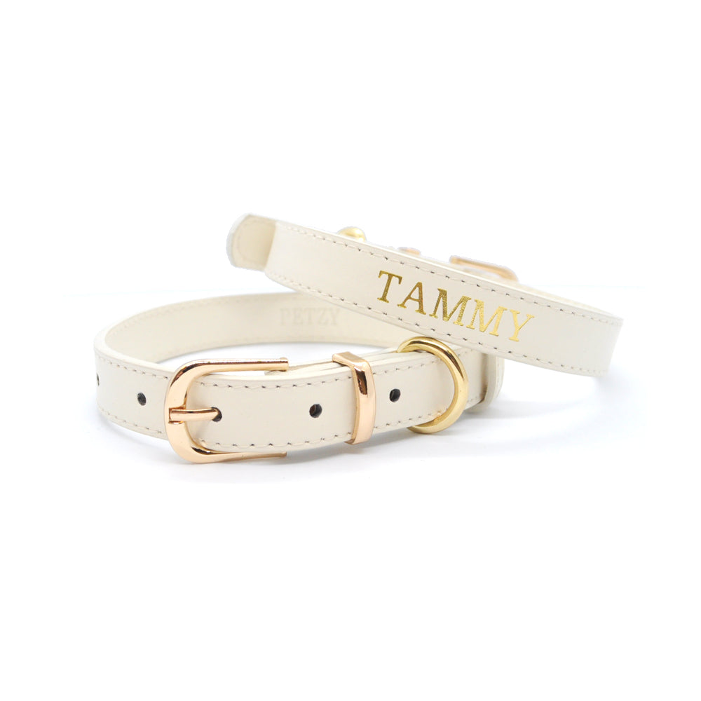 Beige - Premium Personalised Pet Collar (Gold)