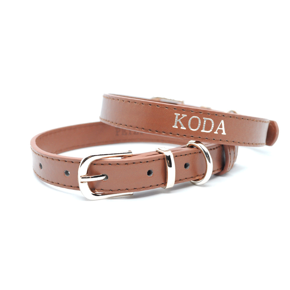 Brown - Premium Personalised Pet Collar (Silver)