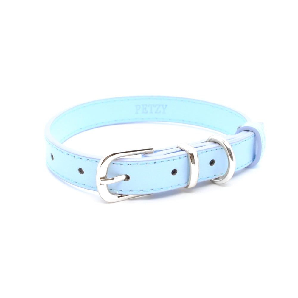 Light Blue - Premium Personalised Pet Collar (Silver)