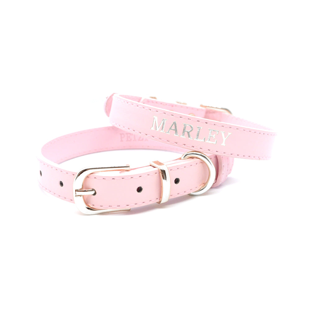 Light Pink - Premium Personalised Pet Collar (Silver)