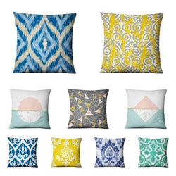 Blue Geometric Printed Pillowcase Nordic Simple Cotton Linen Cushion Decorative Pillows Home Decor Sofa Throw Pillow Almofadas