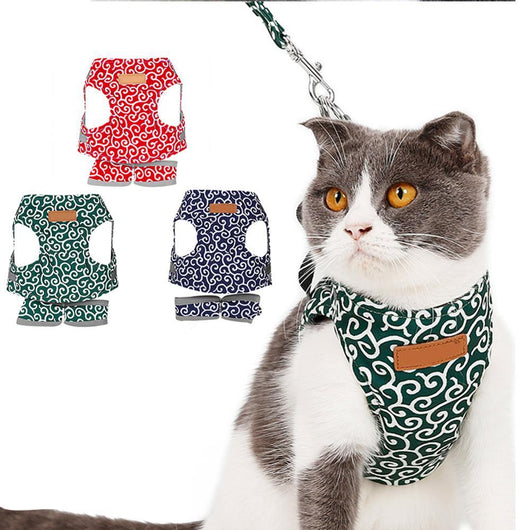 Red / S Japanese Style Cat Harness Vest 26248873-red-s-china