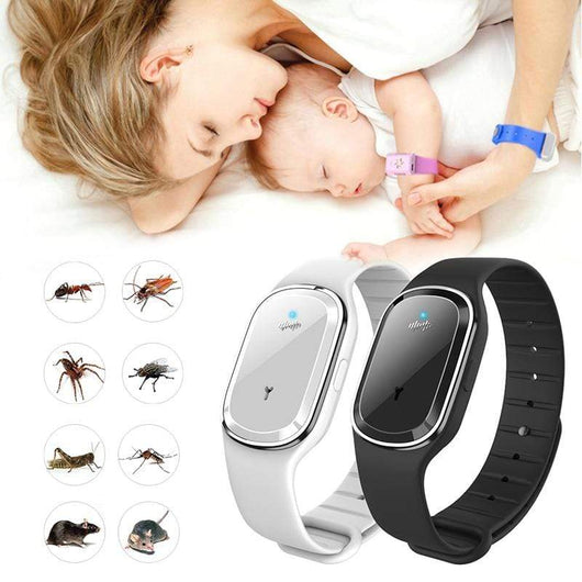 Black - No Time Display / CHINA Ultrasonic Mosquito Repellent Bracelet MRB - Black No Time