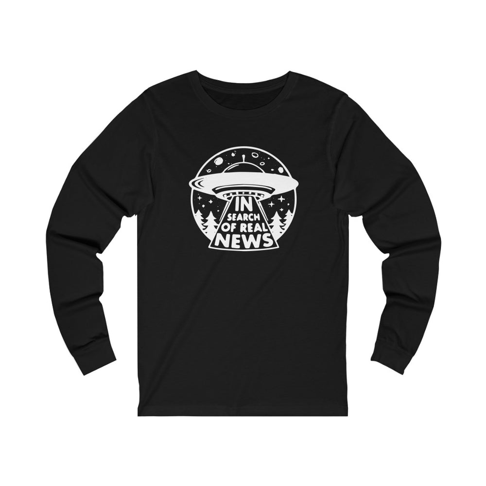 """In Search of Real News"" Men's Long Sleeve Tee"