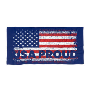 "Load image into Gallery viewer, ""USA Proud"" Flag Blue Beach Towel"