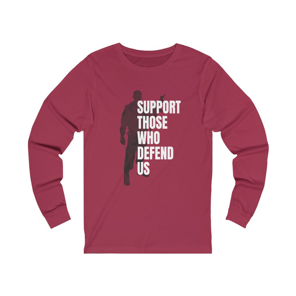 "Load image into Gallery viewer, ""Support Those Who Defend Us"" Women's Long Sleeve Tee"