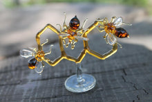Load image into Gallery viewer, Glass Honeycomb and Bee Collectible Figurine Glass Bee  Blown Glass honeybee  Honeybee and Honey comb