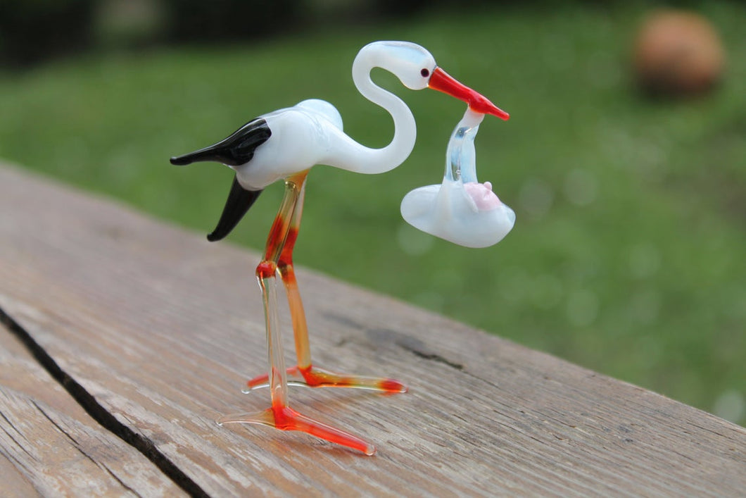 Stork with Baby Bundle Figurine Blown Glass Shower Gift The stork brings the baby Stork with Baby Bundle Sculpture Glass Stork