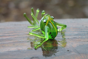 Frog glass Miniature, Animals Glass, Art Glass, Blown Glass