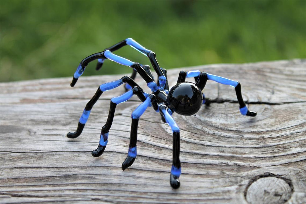 Hand Blown Glass Tarantula  Blown Glass Tarantula Spider Sculpture Tarantula Spider Halloween glass murano Blue Spider