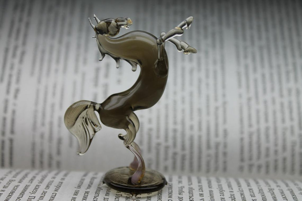 Glass Horse Figurine Hand-Blown Collectible Art Glass