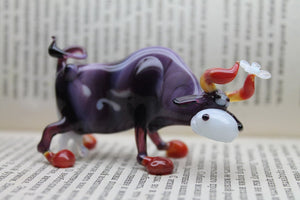 Blown Glass Cow Sculpture  Animals Glass