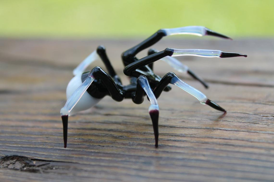 Spider Animals Glass, Art Glass, Blown Glass, Sculpture Made Of Glass, Black spider