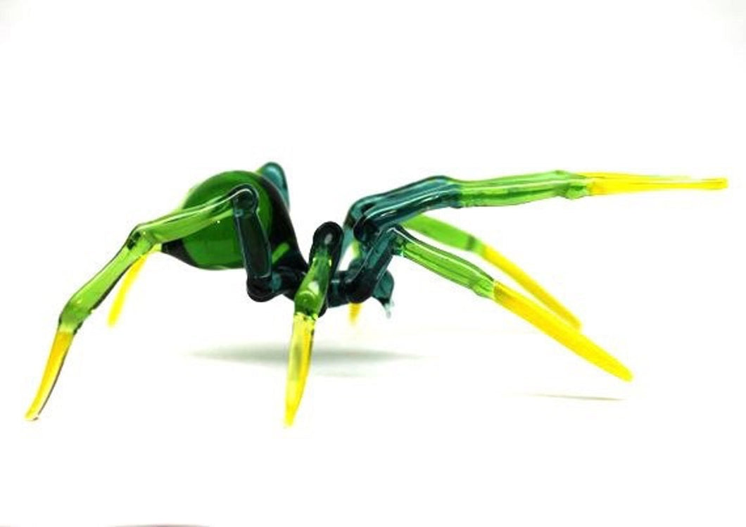 Art Glass Spider Figurine, Blown Glass Spider, Spider halloween