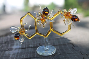 Glass Honeycomb and Bee Collectible Figurine Glass Bee  Blown Glass honeybee  Honeybee and Honey comb