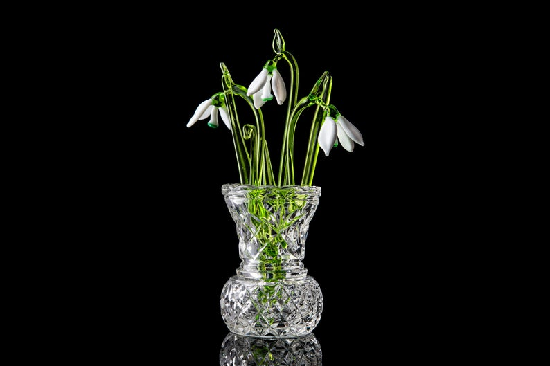 Flower Snowdrop  set of three glass snowdrops and crystal vase  mothers day gift Glass Flower Snowdrop birth flower