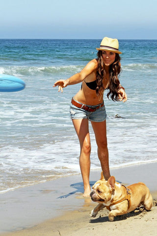 Girl on the beach with dog